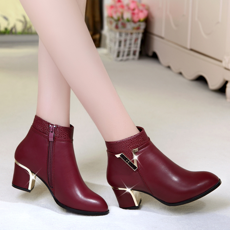 2015 genuine leather boots ankle-length martin thick heel single pointed toe plus size
