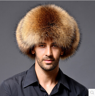 Package mail mink fur hat men outdoor leather crown fox raccoon middle-aged MAO lei feng mo leisure(China (Mainland))