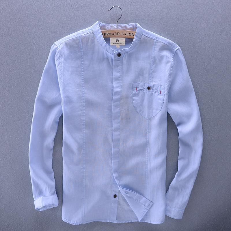 hot sale brand men 39 s linen shirt full sleeve pocket