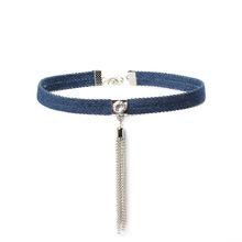 Buy Fashion Blue Denim Jean Gothic Tassel Choker Necklaces Women Gold/Sliver Color Choker Denim Jean Choker Collar Necklace for $1.43 in AliExpress store