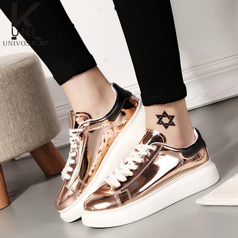 Womens Shoes Flat Gold/Slivery 2016 New Brand Casual Women's Shoe Round Toe Fashion Footwear Lace Up Chaussure Femme C1830(China (Mainland))