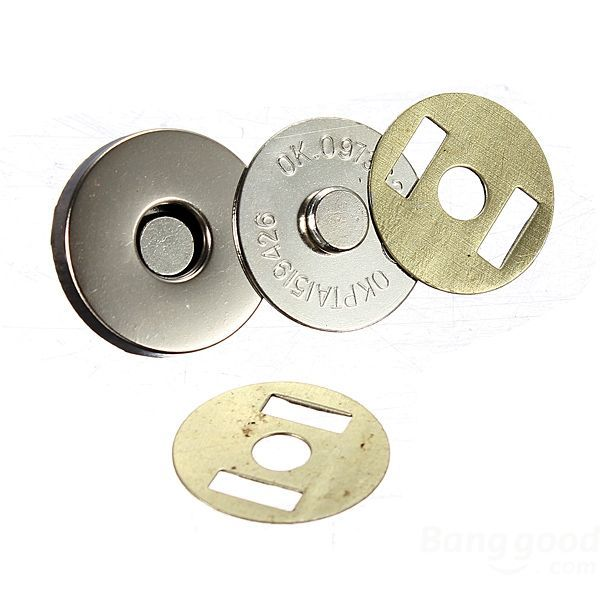 bestChoise 12 Set 18mm Nickel Magnetic Snaps Bag Clasp Metal Button Fastener(China (Mainland))