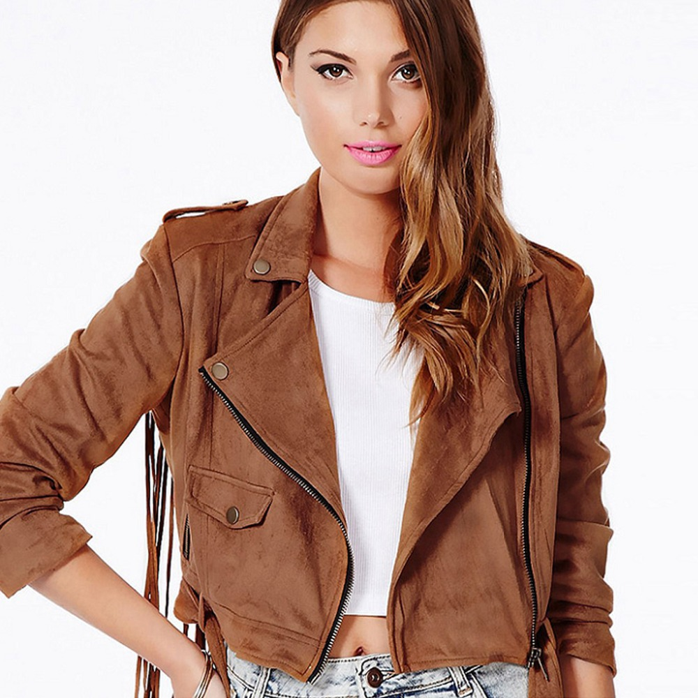 Short Brown Leather Jacket