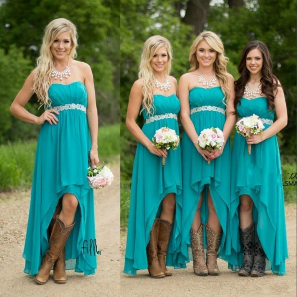 2016 teal bridesmaid dresses for wedding chiffon hi lo plus size high low empire pregnant beaded maid honor gowns under 100