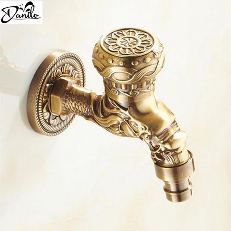 Luxury Decorative outdoor Bibcock Garden faucet tap Antique Brass Finish Bathroom Wall Mount Washing Machine Water Faucet Taps(China (Mainland))