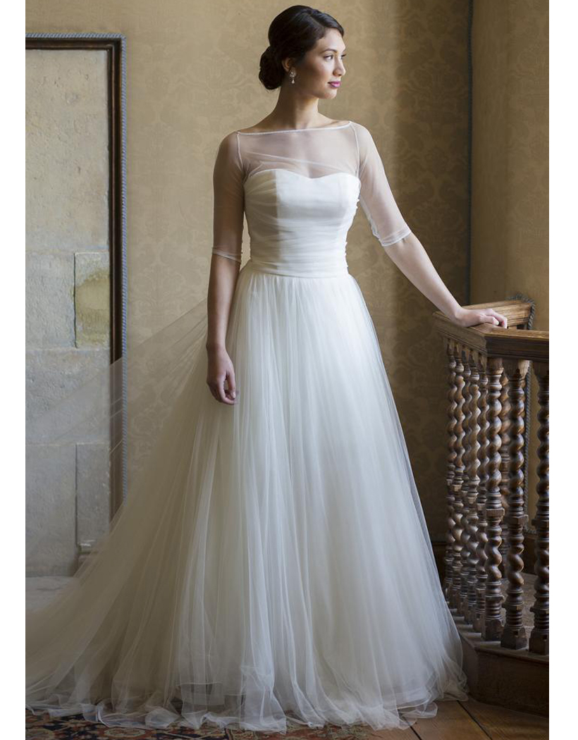 Romantic beach wedding dresses with jacket half sleeves for Wedding dress jackets plus size
