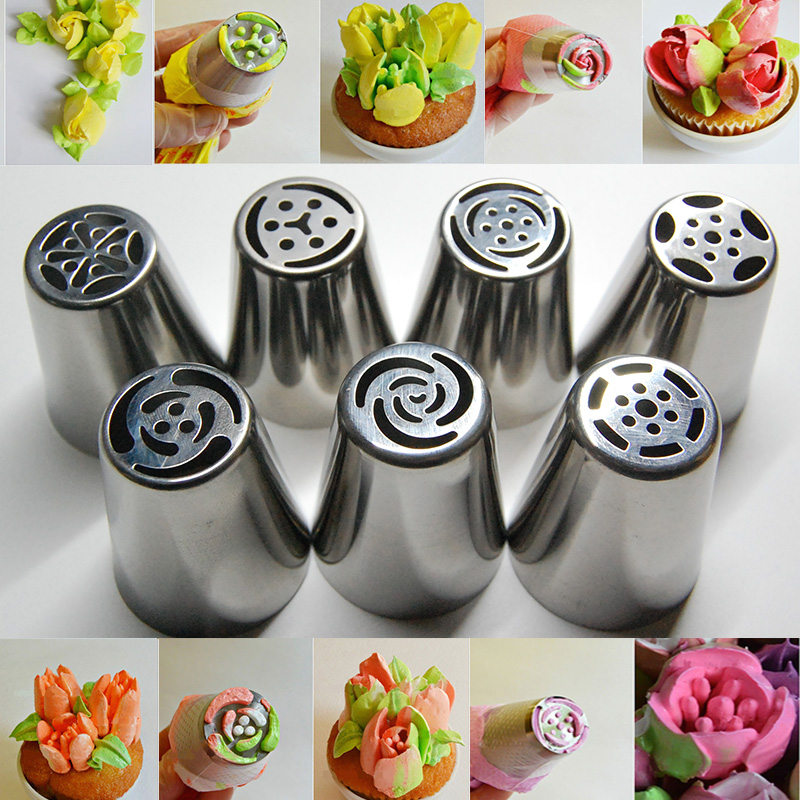 7pcs stainless steel nozzles russian tulip icing piping for Baking decoration