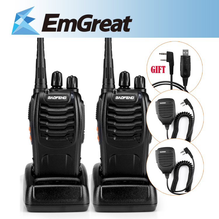 Portable BaoFeng BF-888S UHF 5W 16CH 400-470MHz Walkie Talkie Two Way Radio + USB Program Cable For 5R +  Speaker Mic