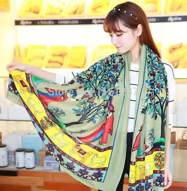 Новое поступление тенденция мода Pachira крупноплодный марка шали шарфы граффити пашмины высокое качество накидка для женщин