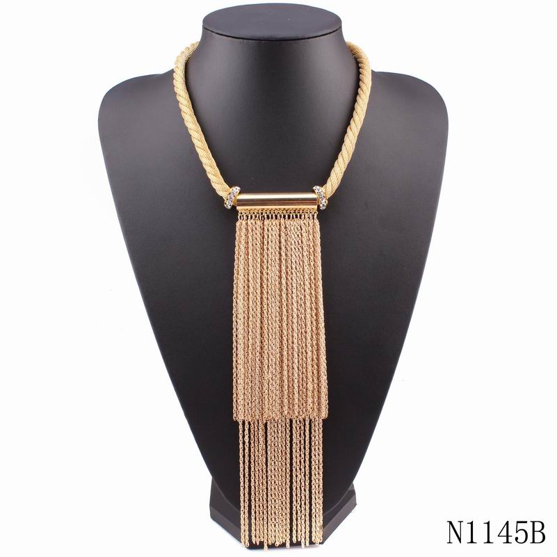 2016 new long metal rhinestone necklace top qualtiy gold plated elegant pendant statement chunky chain necklace for girls(China (Mainland))