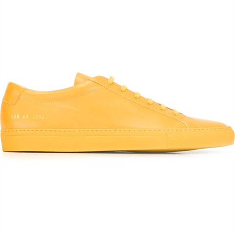Фотография Original Common Projects Achilles Low Women Men Shoes Spring Autumn Classic Yellow Genuine Leather Sheepskin Casual Shoes Uomo