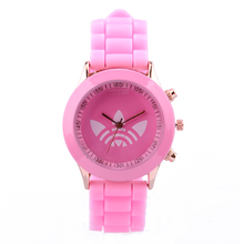 Brand Leaf Grass Quartz Watch Stainless Steel For Women Men Unisex Silicone Sports Casual 2014 Wristwatches