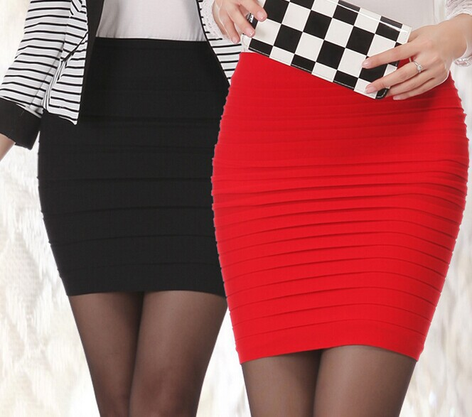 Гаджет  Hot Sale Fashion Sexy Packet Buttock High Waist Pleated Short Mini Pencil Skirt Midi Skirt, Free Size Elastic Skirts Womens None Одежда и аксессуары