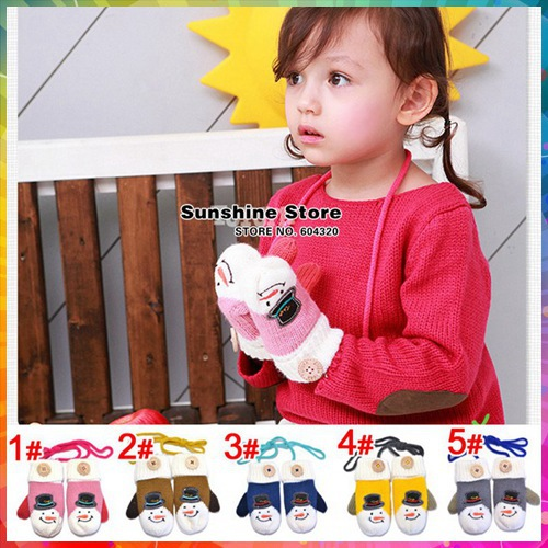 Sunshine store #2G0003 5 pair/lot(5 colors)children gloves winter Xmas gift snowman toddler Mittens kids wool/fleece lined CPAM(China (Mainland))