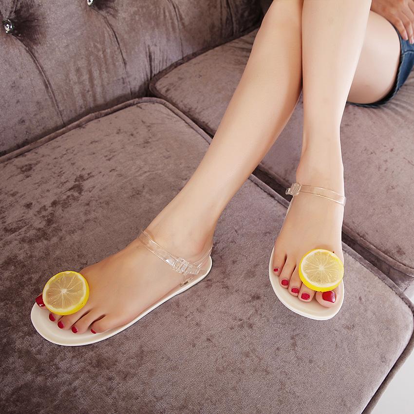 brand same design lovely women Crystal jelly sandals clip toe flat simulation lemon orange plastic beach sandals shoes(China (Mainland))