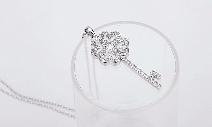 Luxury Dazzling AAA+ Swiss Cubic Zirconia Women's Key Pendant necklaces Fashion Bijoux Femme Teen Girls Gifts 2015 New Design 3