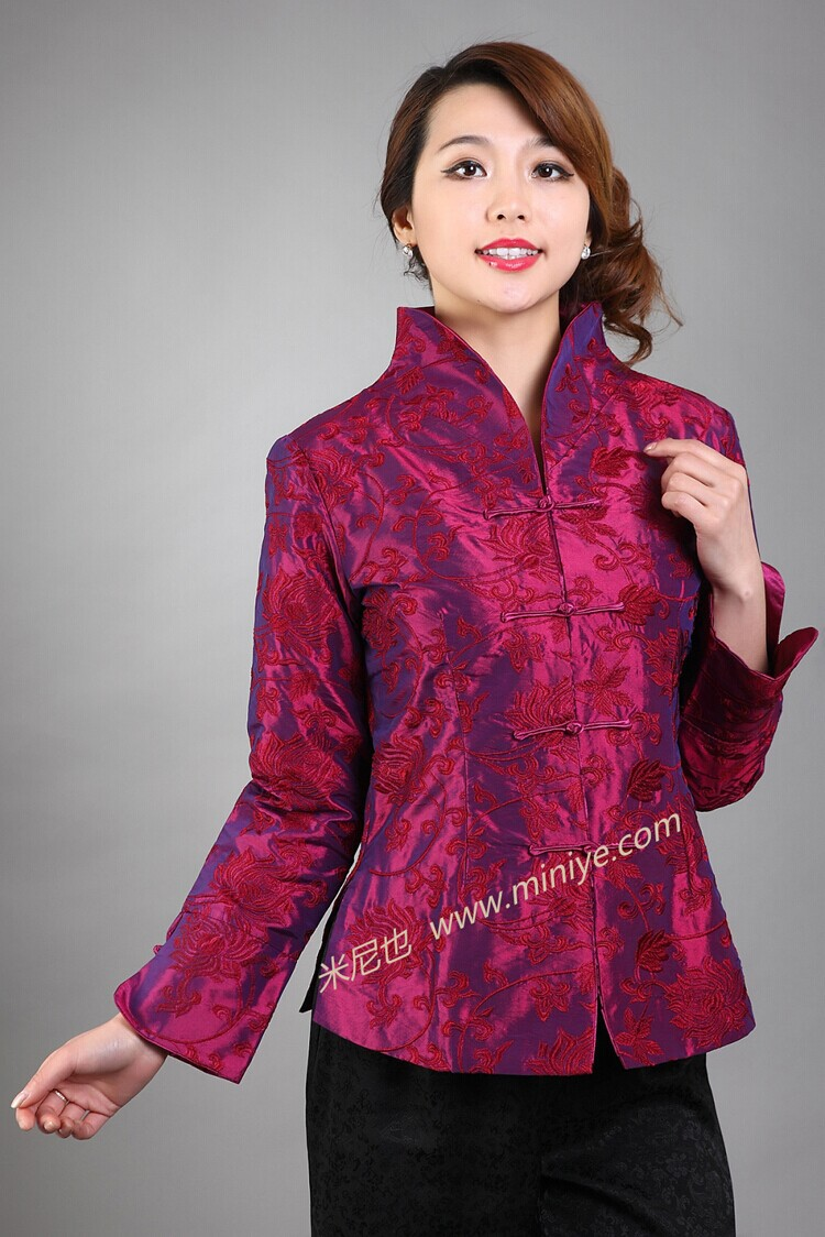 New Style Burgundy Chinese Women Tang Suit Tops Satin Coat Novelty Embroidery Jacket chaquetas mujer Size S M L XL XXL XXXL M-12(China (Mainland))