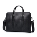 Men Business Faux PU Leather Weaving Briefcase Male Travel Messenger Shoulder Portfolio Laptop Bags Causal Lawer