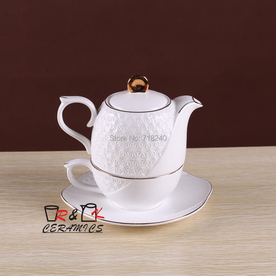 Fashion quality bone china coffee set single afternoon tea flower tea embossed tea pot piece set