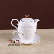 Fashion quality bone china coffee set single afternoon tea flower tea embossed teapot piece set
