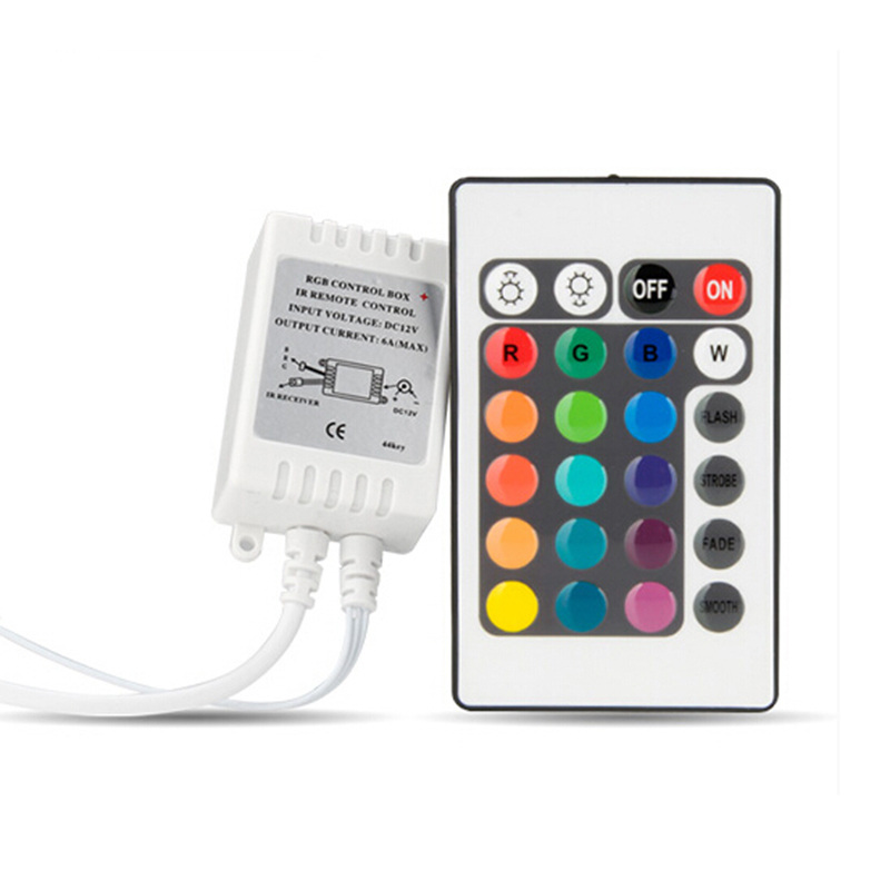 DC12V or DC24V  3Channels RGB 6A Total 24keys IR RGB Controller, 2Loads RGB LED Strip Lighting Controller<br><br>Aliexpress