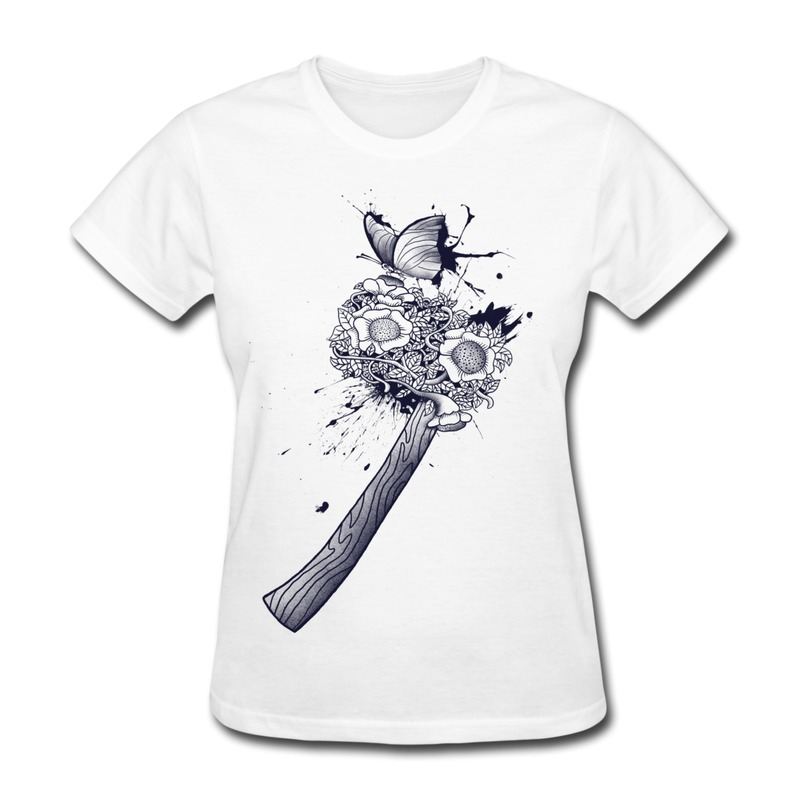 Women 39 s t shirt round neck animal butterfly on flower for Where to get t shirts printed cheap