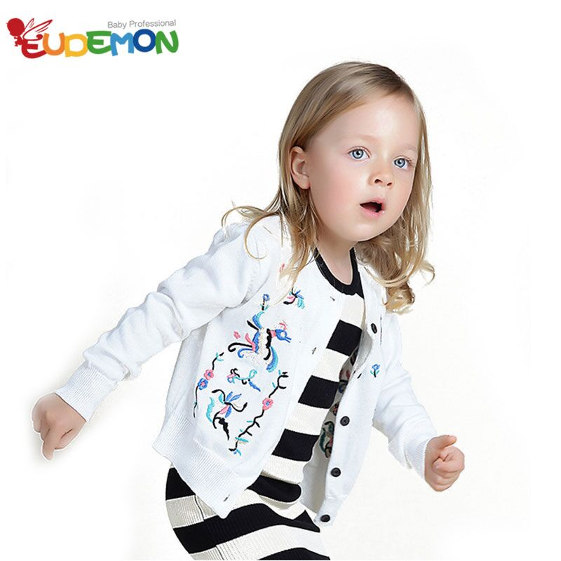 [Eudemon] 2016 Girls Sweater Long Sleeves Embroidery Infant girl Cardigan Spring & Winter Sweater for girl Children Clothes(China (Mainland))