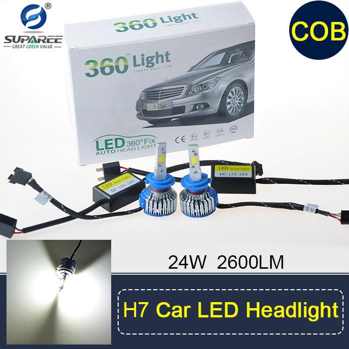 Pair of 2600 lumens 12V 24W Super White Car LED Lenser H1/H4/H7/H11/9005/9006/D2 Headlight Lamp(China (Mainland))