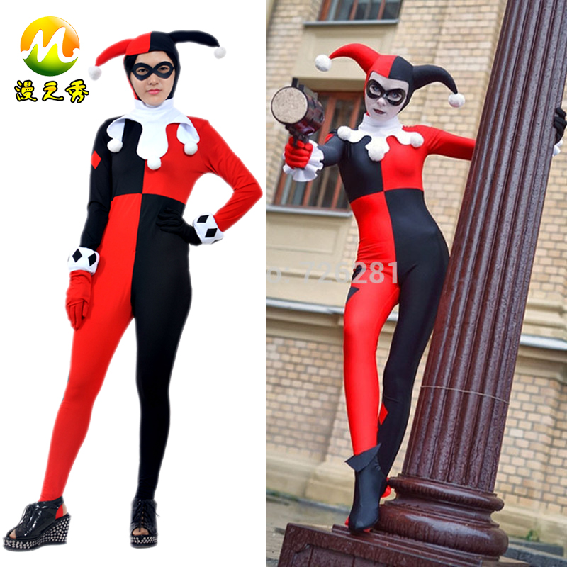 Ladies Official DC Harley Quinn Batman Super Villain Cosplay Fancy Dress Costume MZX-106-02 - M-Show Store store