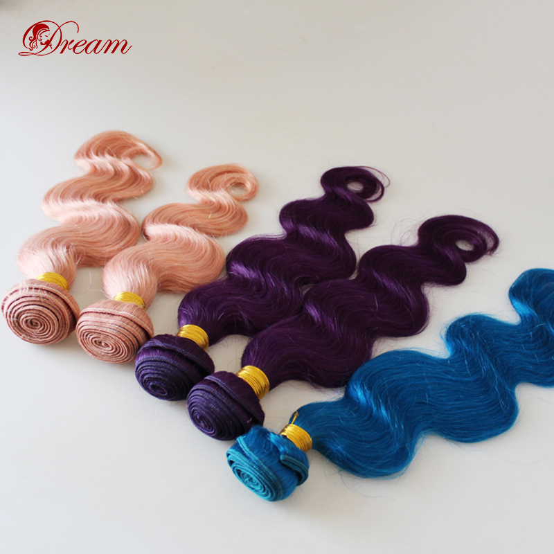 3 Bundles/lot Blue/Pink/Purple 6A Brazilian Virgin Human Hair Extensions Weaves Wefts Body Wave Colorful Fashion Freeshipping<br><br>Aliexpress