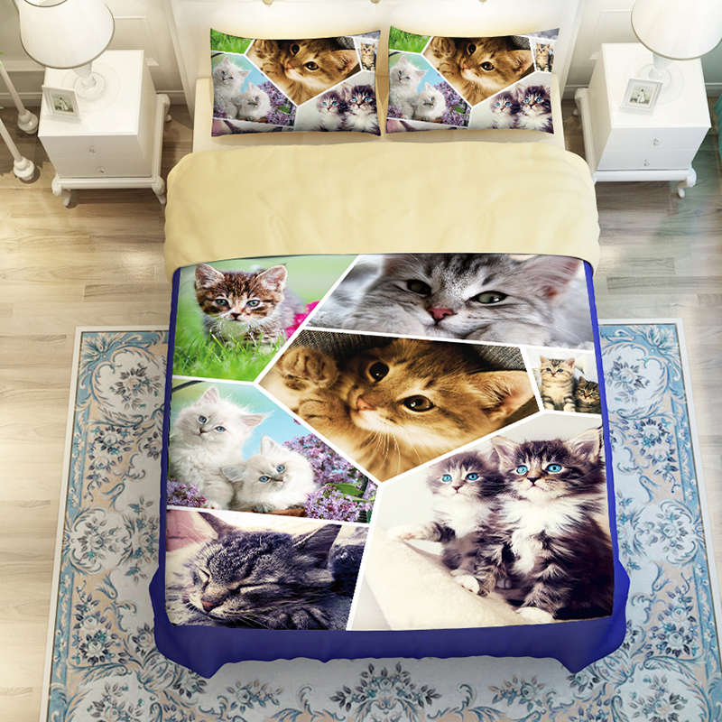 Фотография sweet cat print bedding sets for boy