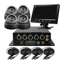 "Free Shipping 4CH 256G SD 3G GPS Track Car DVR H.264 PC Phone View Video Recorder + 9"" Monitor + IR SONY 600TVL Dome Camera Kit(China (Mainland))"