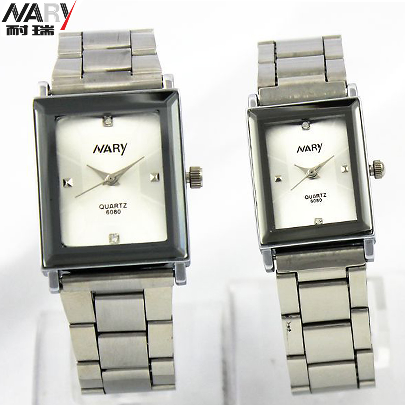 NARY 6080 Couple Watches Man Watch Women Stainless Steel Square Face Dial Quartz Casual Analog Wrist Watch Men Luxury Brand(China (Mainland))