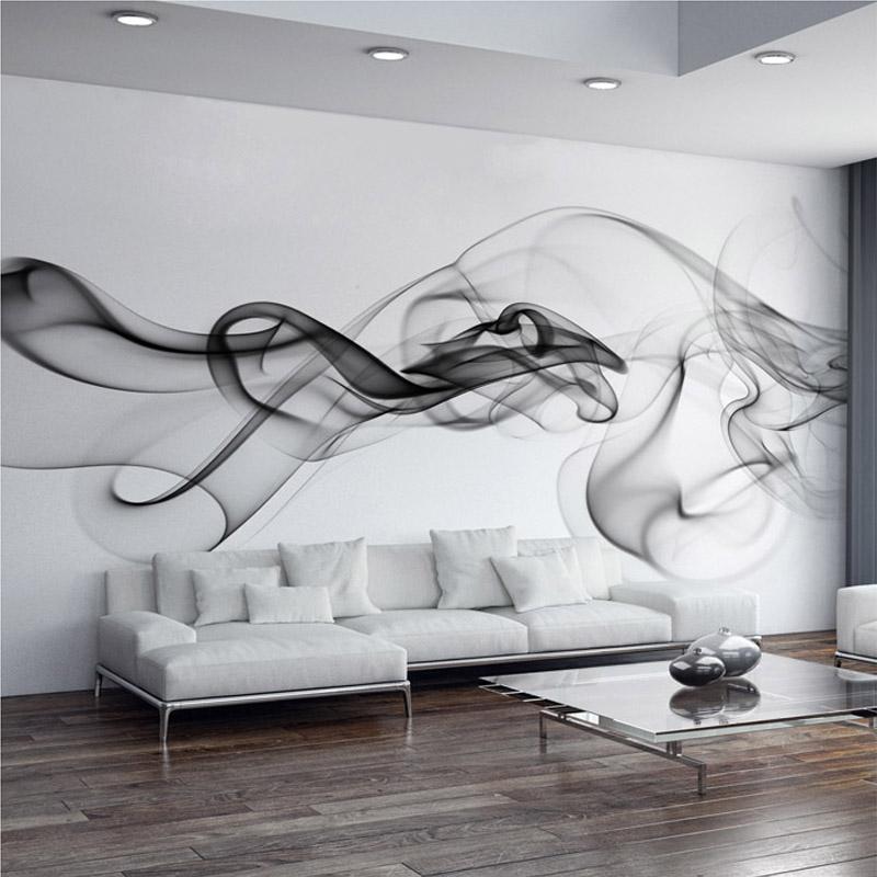 Custom Photo Wallpaper Modern 3D Wall Mural Wallpaper Black White Smoke Fog Art Design Bedroom Office Living Room Wall Paper(China (Mainland))