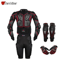 HEROBIKER Red Motorcross Racing Motorcycle Body Armor Protective Jacket+ Gears Short Pants+Protective Motorcycle Knee Pad+Gloves(China (Mainland))