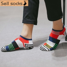 2016 new summer Colorful large square Casual man socks cotton sock slippers EUR39-44 - Sell store