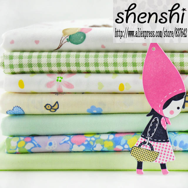 50x50cm (7pcs/lot) Seven main green fabrics plain cotton craft group quilt fabric cloth home textile material for sewing cloth(China (Mainland))