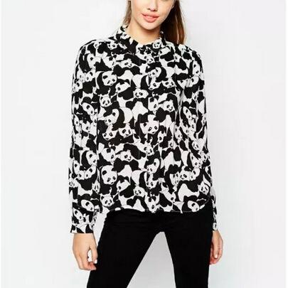 Женщины плюс размер симпатичные панды печати блузки Элегантный поворот вниз воротник ...