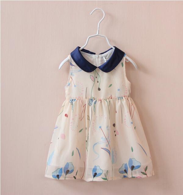 1250733 Wholesale New 2015 Summer Girls Chiffon Dresses Print Flowers Sleeveless Girls Princess Dresses Childrens Clothes Lot<br><br>Aliexpress
