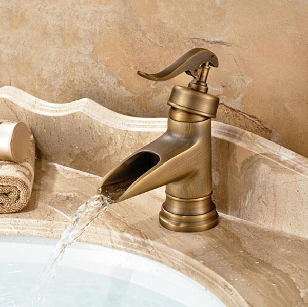 Buy Antique Brass Deck Mount Waterfall Lavatory Faucet Singl