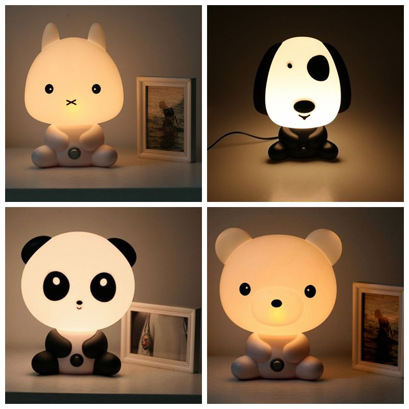 NEW Baby Room Panda/Rabbit/Dog/Bear Cartoon Night Sleeping Light Kids Bed Lamp Night Sleeping Lamp Best for Gifts EU/US Plug(China (Mainland))