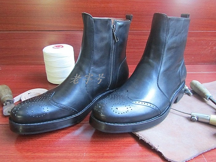 Brand High Quality Handmade Genuine leather zipper Mens shoes Goodyear Customized Waterproof Martin boots<br>