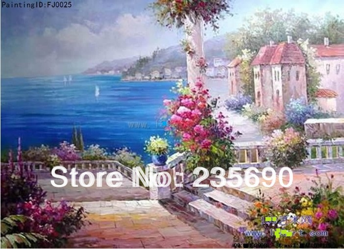 Blue Gulf Mediterranean Landscape oil painting on canvas Hand-painted Wall art Home decoration 24*36inch/24*48inch FreeShip(China (Mainland))