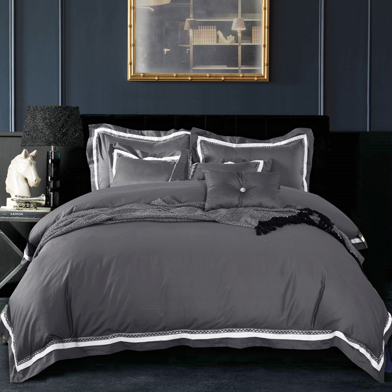 Gray Duvet Cover King : Pc cotton luxury satin fabric solid color dark grey