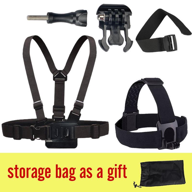 Gopro Chest Belt + Head Strap belt +gopro wrist strap +gopro helmet hero 3 strap +storage bag + movable base Gopro Accessories(Chi
