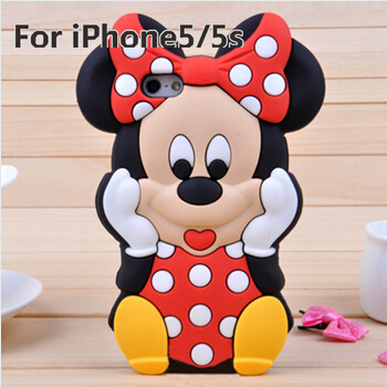 Гаджет  2014 New Arrival Lovely Cute Cartoon Mickey Mouse Minnie 3D Soft Rubber Silicone Cover Case for iPhone 5C 5S 4 4S, Free Shipping None Телефоны и Телекоммуникации