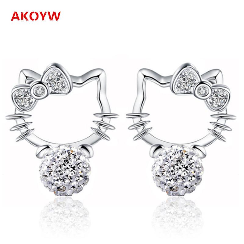 Shambhala Rhinestone silver plated one pair of earrings cute Hello Kitty girls love fashion jewelry earrings crystal animals(China (Mainland))