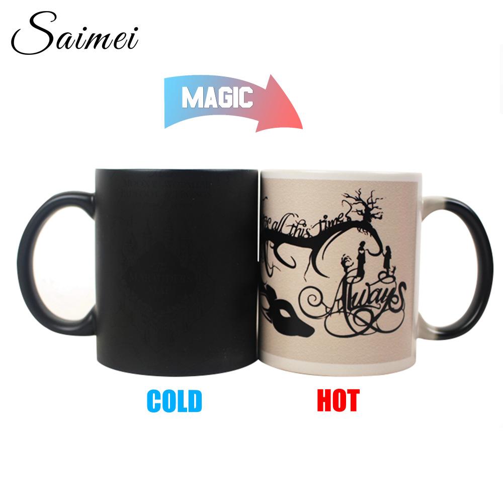 Saimei Design You DIY Picture Customize Color Changing Coffee Mug Heat Senstive Magic With Handle Customize Gift With Box(China (Mainland))