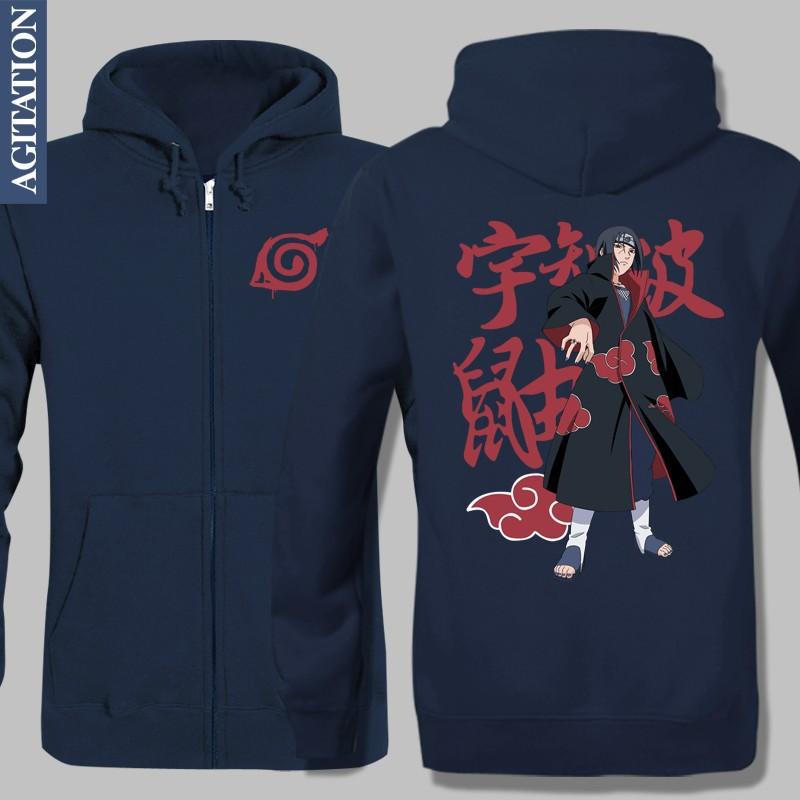 New Winter Fleece Jacket Warm Hoodies Anime Custom Design Naruto Printed Outwear Uchiha Itachi UI UK Varsity Long Sleeve Vesture(China (Mainland))
