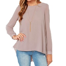 Zanzea New 2016 Summer Style Women Blusas Sexy Casual Loose Chiffon Tops Long Sleeve Solid Shirts Ladies Blouses Plus Size(China (Mainland))